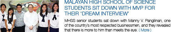 Malayan High School of Science students sit down with MVP for their 'Dream Interview'